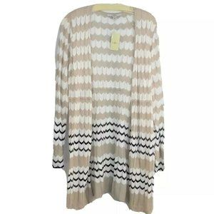 New Fever Sweater Wrap Duster Large Tan Chevron